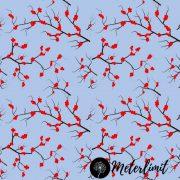 #15 Äste mit Vogelbeeren blau Meterlimit Jersey