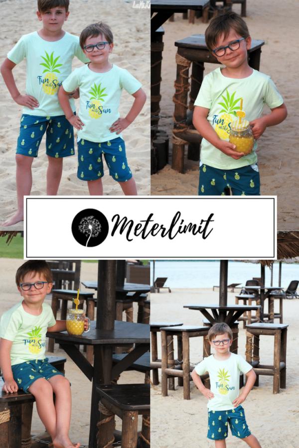 Pinterest Probenähen Meterlimit Jersey Stoff Ananas marineblau