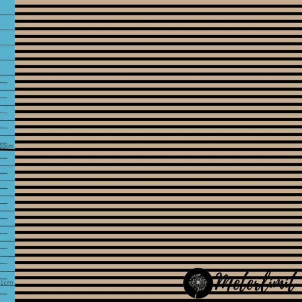 MLBSL-#00017 Schwarze Linien warmed sand beige Baumwolljersey